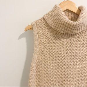 Cream Knit Sleeveless Turtle Neck
